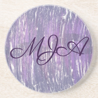 Disillusioned Bar   Monogram Plum Purple Silver   Coaster