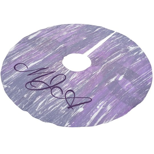 Disillusioned Holiday | Monogram Purple Silver | Brushed Polyester Tree Skirt