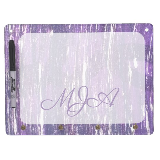 Disillusioned Kitchen | Monogram Purple Silver | Dry Erase Board With Key Ring Holder