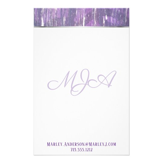 Disillusioned Office | Monogram Purple Silver | Stationery