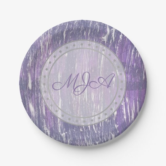 Disillusioned Party | Monogram Purple Silver | Paper Plate