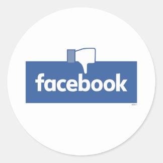Dislike Facebook Round Sticker