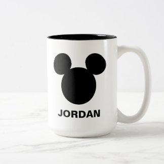 Disney Logo | Black Mickey Icon Two-Tone Coffee Mug