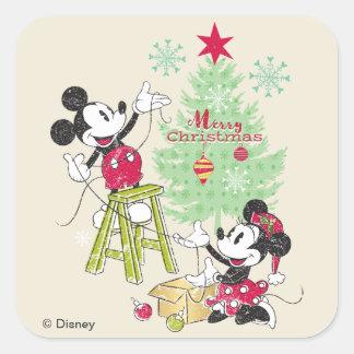 Disney | Mickey & Minnie | Classic Christmas Tree Square Sticker