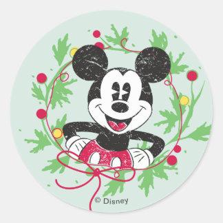 Disney | Mickey & Minnie | Holiday Stripes Pattern Classic Round Sticker