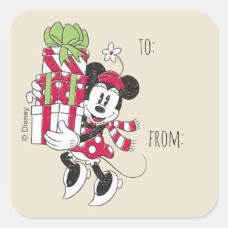Disney | Vintage Minnie Delivering Holiday Cheer Square Sticker