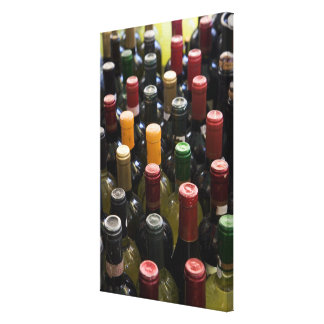 dispaly fo wine bottles in market, Campo di Canvas Print