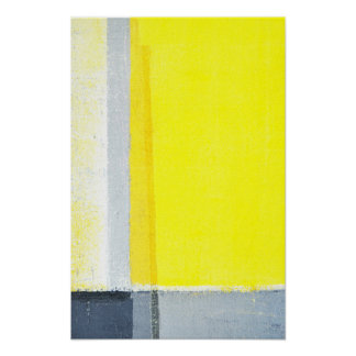 'Displaced' Grey and Yellow Abstract Art Poster