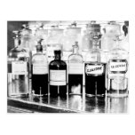 Display of apothecary bottles containing drugs