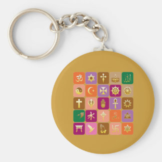 DISPLAY only :Decorative Religious ICONS Basic Round Button Key Ring