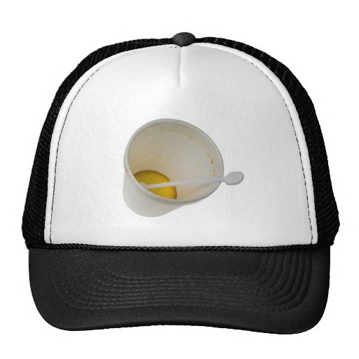 Disposable cup with some coffee trucker hat