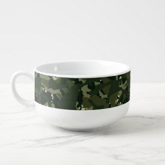 Disruptive khaki camouflage soup bowl with handle