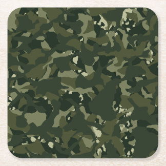 Disruptive khaki camouflage square paper coaster