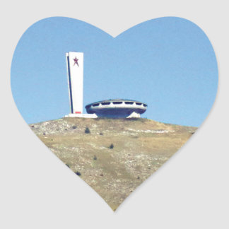 Distant Buzludzha, Balkan Mountains, Bulgaria Heart Sticker