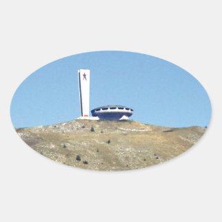 Distant Buzludzha, Balkan Mountains, Bulgaria Oval Sticker