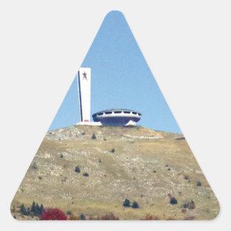 Distant Buzludzha, Balkan Mountains, Bulgaria Triangle Sticker