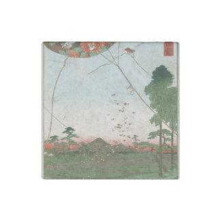 Distant view of Akiba of Enshu, kites of Fukuroi Stone Magnet