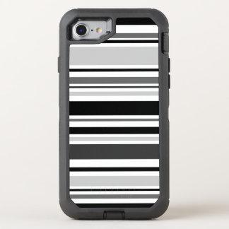 Distinctive Black, Grey, White Stripes OtterBox Defender iPhone 8/7 Case
