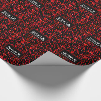 Distinctive black swirls (Red) Wrapping Paper