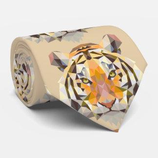 Distinguished gold geometric tiger tie