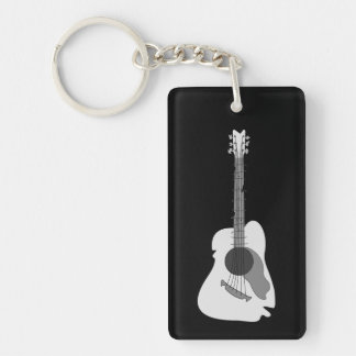 Distorted Abstract Acoustic Guitar Double-Sided Rectangular Acrylic Key Ring