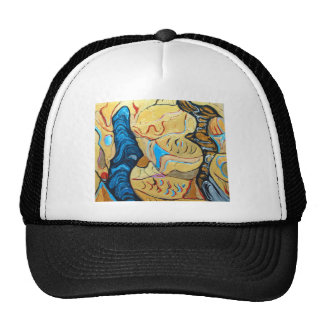 Distorted Dialog abstract metallic expressionism Trucker Hats