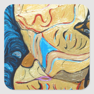 Distorted Dialog (abstract metallic expressionism) Stickers
