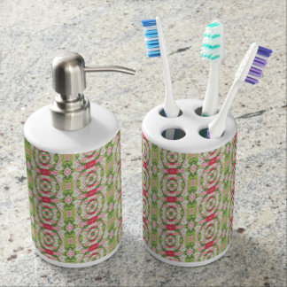 Distorted Watercolor Pink White Green Red Floral Soap Dispenser And Toothbrush Holder