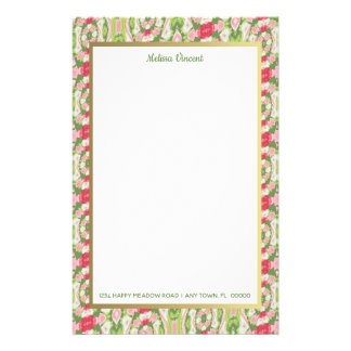 Distorted Watercolor Pink White Green Red Floral Stationery