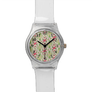 Distorted Watercolor Pink White Green Red Floral Watch