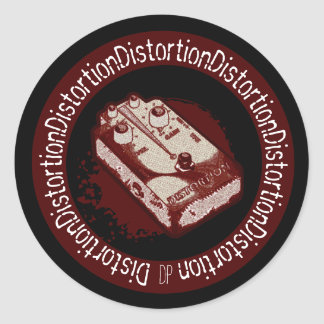 Distortion Pedal Two Tone Red & White Round Stickers
