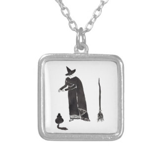 Distracted Witch Silver Plated Necklace