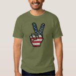 Distressed American flag Hand Peace Sign Tshirts