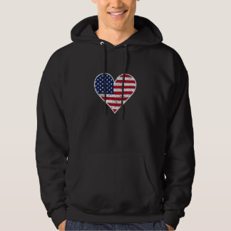 Distressed American Flag Heart Hoodie