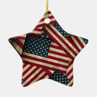 Distressed American Flags Ceramic Ornament
