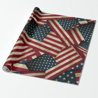 Distressed American Flags Wrapping Paper