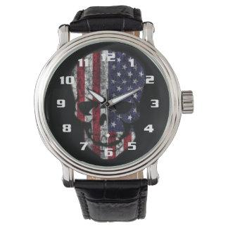 Distressed American Skull Watch