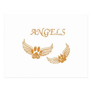 Distressed Angel Pet Paws Postcard
