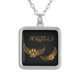 Distressed Angel Pet Paws Silver Plated Necklace