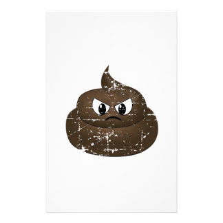 Distressed Angry Cartoon Poop Stationery