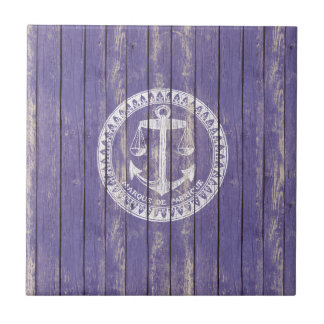 Distressed Antique Wood Print with Anchor Ceramic Tile