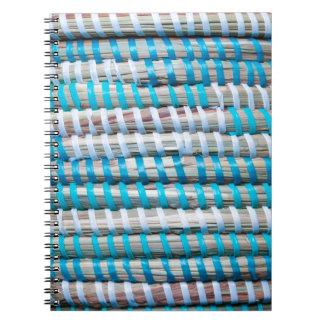 Distressed Aqua Blue Basket Weave Rope - Nautical Spiral Notebook