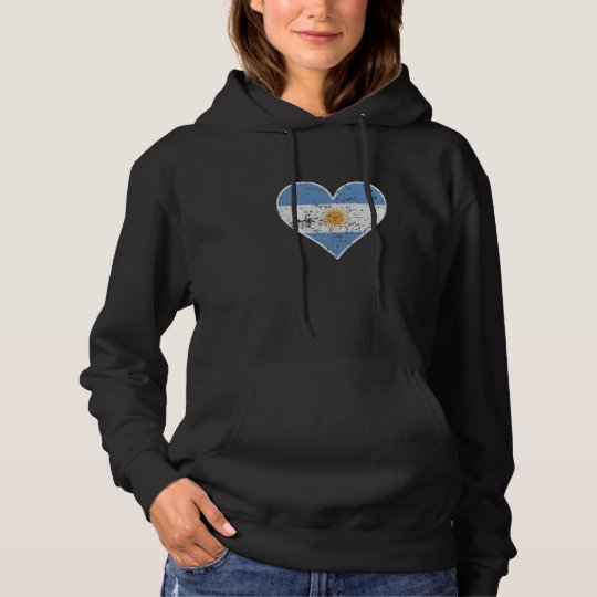 Distressed Argentinian Flag Heart Hoodie