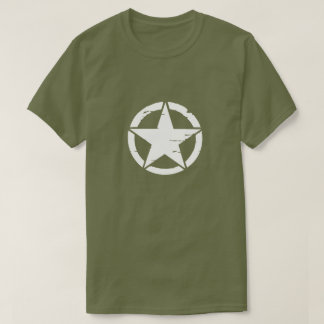 Distressed Army White Star Tee Shirt