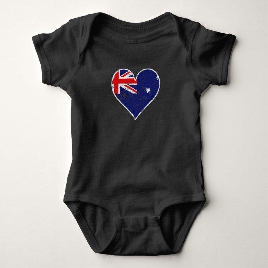Distressed Australian Flag Heart Baby Bodysuit