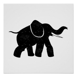 Distressed Baby Elephant Silhouette Poster