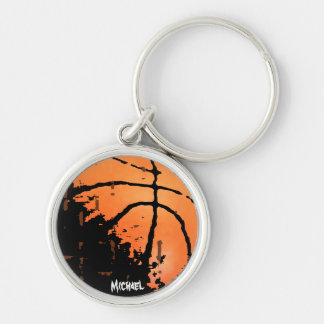 Distressed Basketball with Name Silver-Colored Round Key Ring