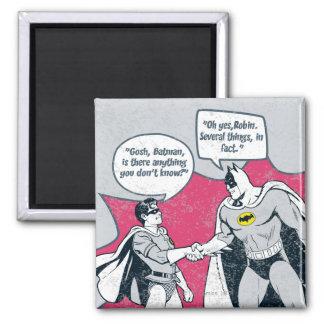 Distressed Batman And Robin Handshake Square Magnet
