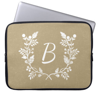 Distressed Beige White Floral Wreath Personalized Laptop Sleeve