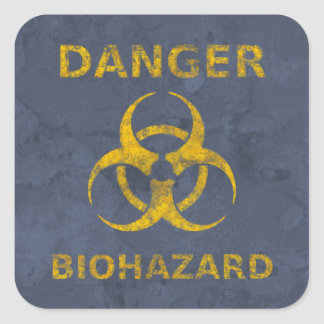 Distressed Biohazard Warning Sign Square Sticker
